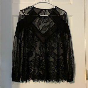 BCBG Black Lace Long Sleeve Blouse